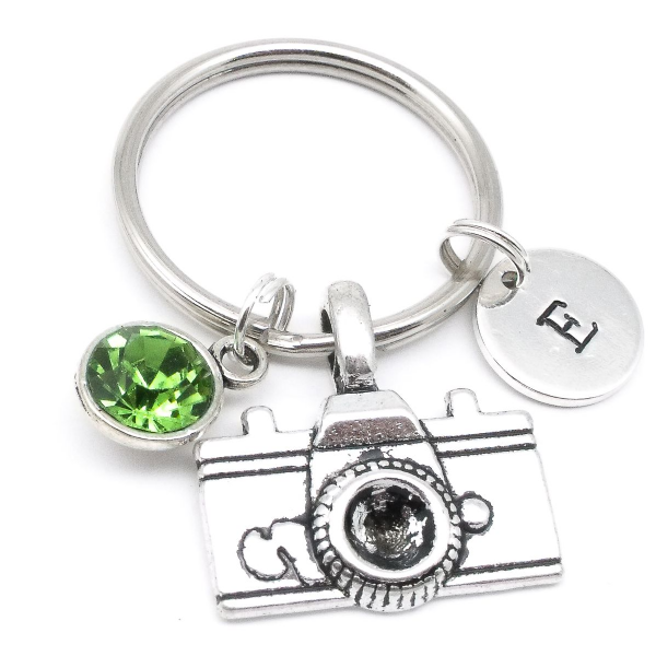 Camera  gift keyring personalised initial birthstone